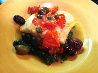 Oven-Roasted Cod w/ Tomatoes, Olives, Capers, Garlic and Lemon
