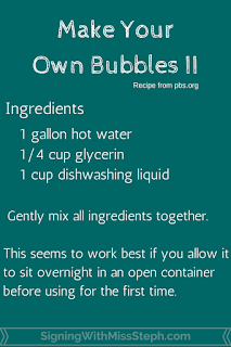 One possible bubble recipe