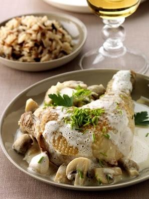 Como cocinar pollo a la crema con champiñones