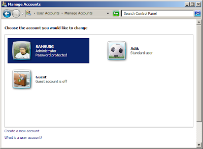 Membuat User Account (Pengguna) Baru di Windows 7
