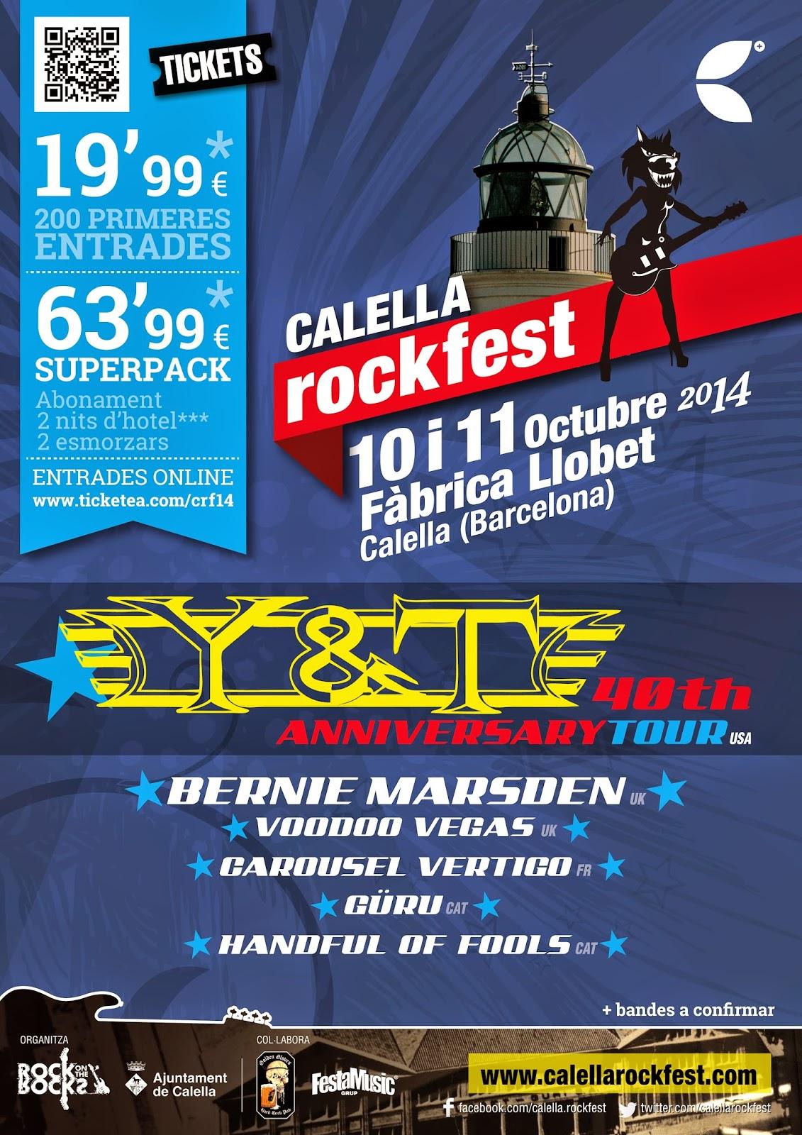 Calella Rockfest 10 y 11 de Octubre, ya están a la venta las entradas para el Festival
