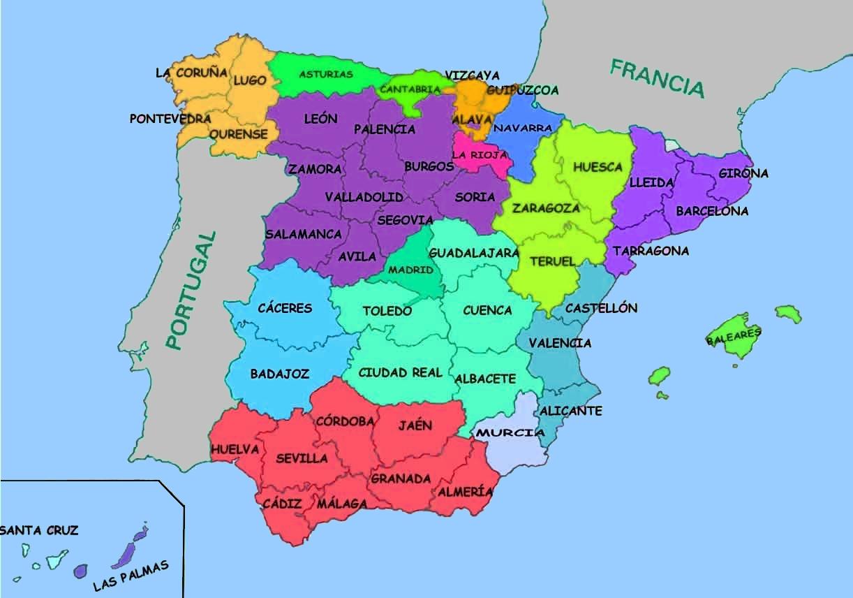 Espagne Provinces Carte