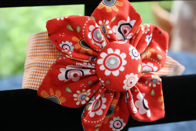 Lg Flower Bow Clipped to Headband