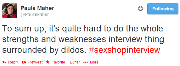 sex shop interview, tweet,
