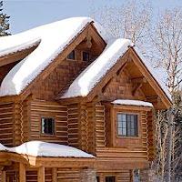 casa con techo nevado