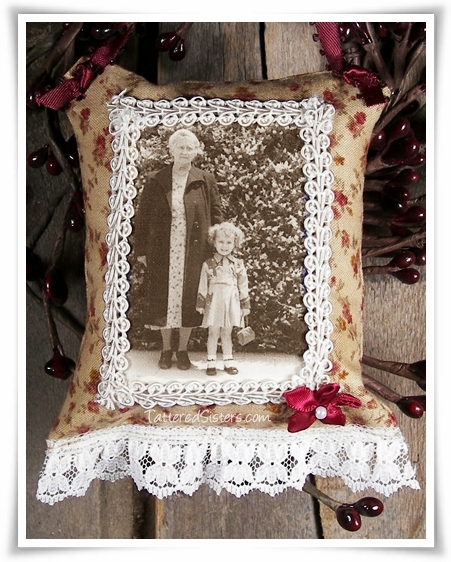 Mom and Grandma Fabric Memory Ornie