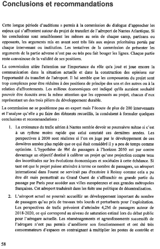 Conclusions de la commission du dialogue