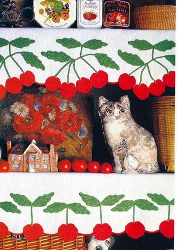 Encantadora guarda con guindas con apliques tejidos al crochet - con esquemas