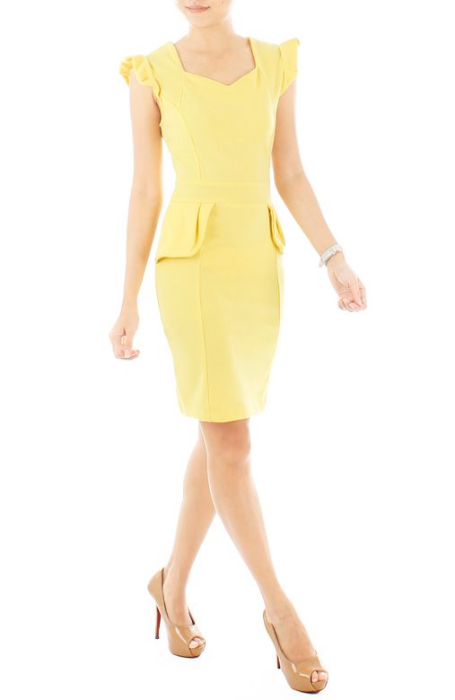 Frill Forte Peplum Dress – Pastel Yellow
