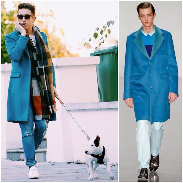 Nick Grimshaw wears Richard Nicoll Fall Winter 2014 turquoise Angora Wool single-breasted Crombie coat with Burberry checked scarf on 29th October 2014 in Primrose Hill London