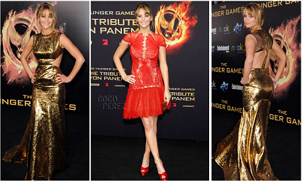 Katniss Everdeen played by Jennifer Laurence on Hunger Games European Movie Premiere