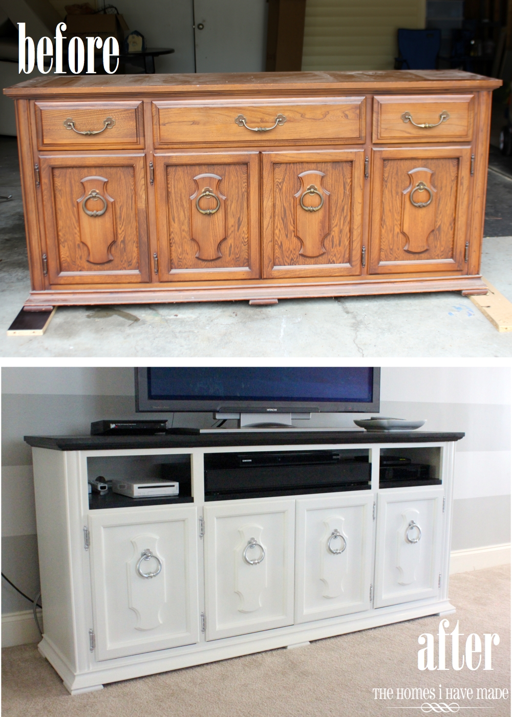 When We Made Over This Hutch Base To Become Our New Media Stand, We Removed  The Top Three Drawers And Inserted Shelves. These Solid Wood,  Dove Tail Joint ...