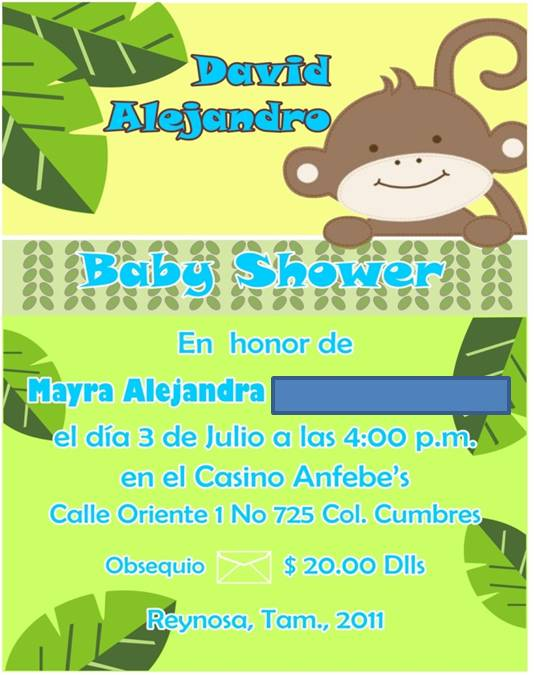 Invitaciones para baby shower de changos - Imagui