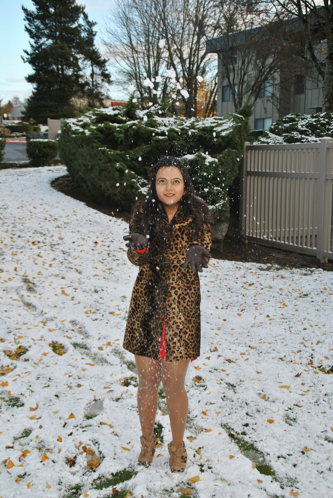Indian fashion blogger,Leopard printed coats, Designer leopard printed jacket, Fashionable leopard prints, Indian Lady with a leopard printed jacket, Seattle winter fashion, beautiful girl in snow