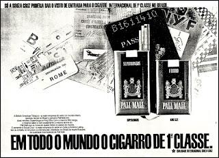 cigarros Pall Mall, propaganda anos 70; história decada de 70; reclame anos 70; propaganda cigarros anos 70; Brazil in the 70s; Oswaldo Hernandez;