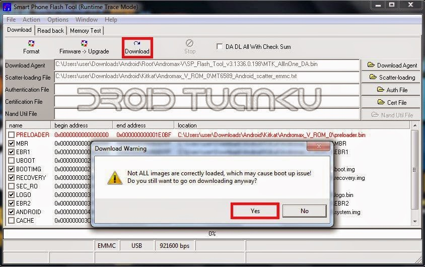 Opsi Download SP Flash Tool