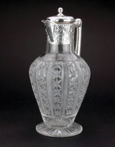 ANTIQUE 19thC VICTORIAN SOLID SILVER & CUT GLASS WINE DECANTER, BIRMINGHAM c1888