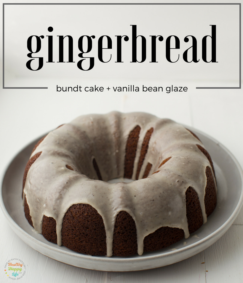 Gingerbread Bundt Cake with vanilla bean coconut glaze