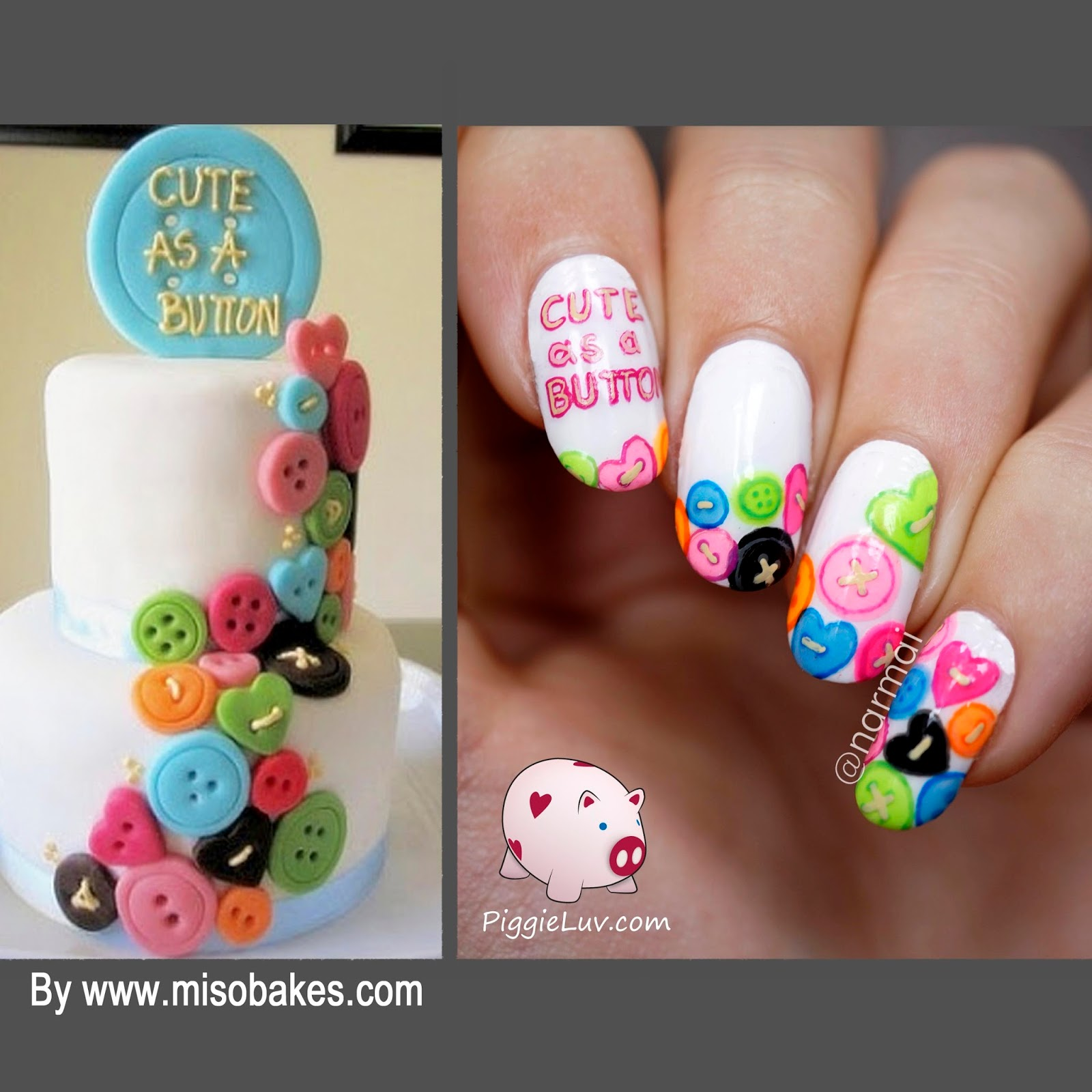 PiggieLuv: Nail art inspired by a cake by Miso Bakes