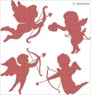 Free cross-stitch patterns, Cupid, heart, love, Valentine's day, silhouette, cross-stitch, back stitch, cross-stitch scheme, free pattern, x-stitchmagic.blogspot.it, вышивка крестиком, бесплатная схема, punto croce, schemi punto croce gratis, DMC, blocks, symbols