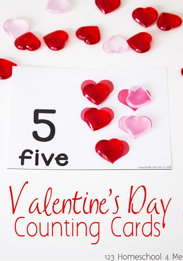 Valentines Day Counting Cards – Toddler Valentine Cards