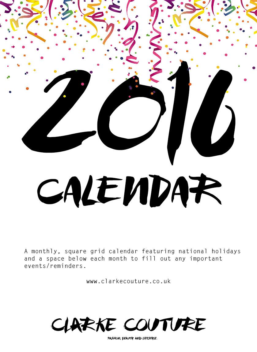 2016 free to print calendar