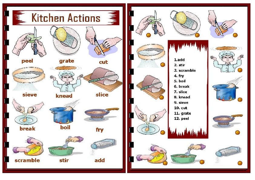 Cooking words worksheet esl