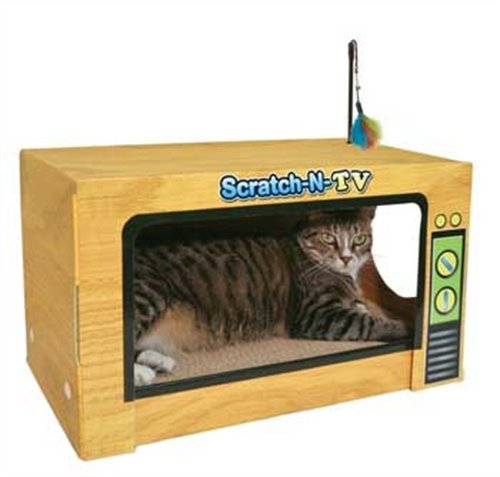 Cardboard cat house cat scratcher play house could be for How to make a cat toy out of a box