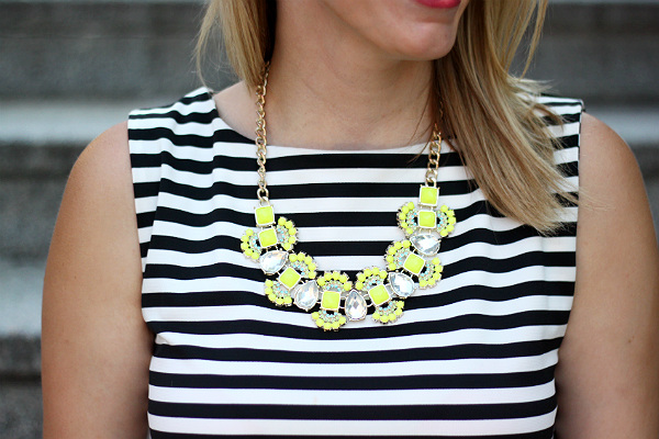 neon statement necklace, T + J Designs