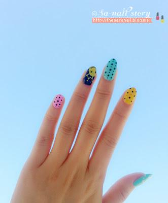 Colorful Dots & Smile face nail art, easy nail art, dot nailart