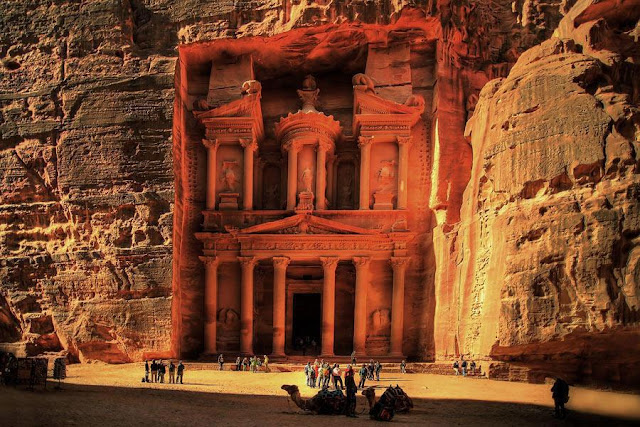 Petra (Greek πέτρα (petra), meaning 'stone'; Arabic: البتراء, Al-Batrāʾ) is an Arabian historical and archaeological city in the Jordanian governorate of Ma'an, that is famous for its rock-cut architecture and water conduit system.