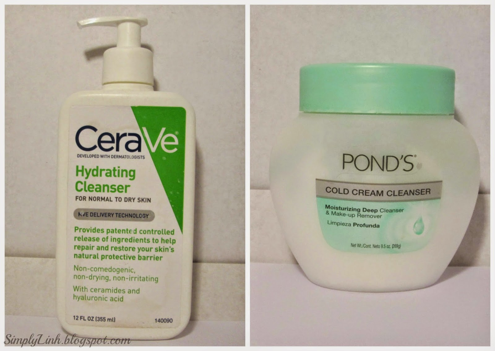 CeraVe Hydrating Cleanser, Ponds Cold Cream Cleanser