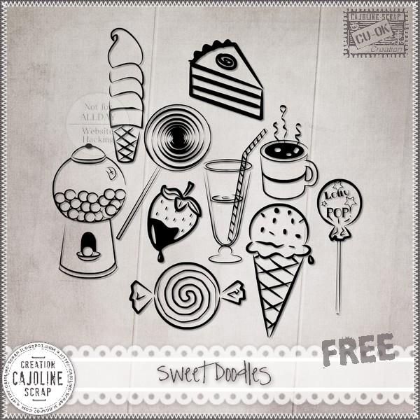"""Free scrapbook """"Sweet Doodles CU"""" from Cajoline scrap"""