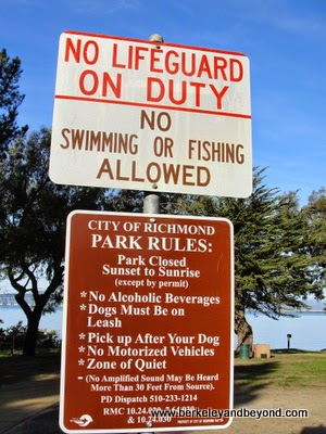 warning sign at Pt. Molate Beach Park in Richmond, CA