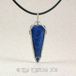 Unisex Slate Blue Exotic African Dumortierite Stainless Steel Handcrafted Pendant