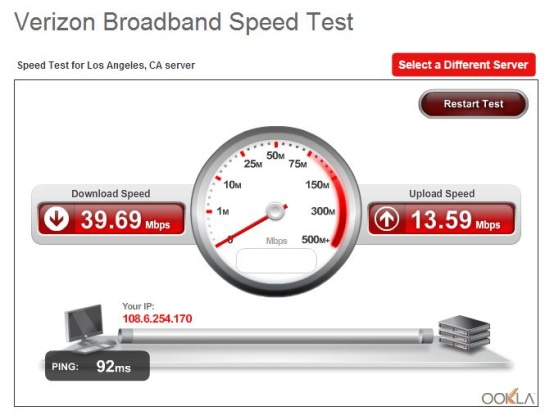 Verizon Fios Speed Test