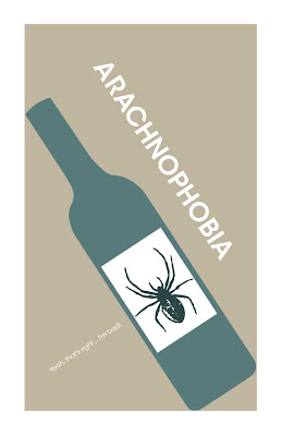 tilted wine bottle with a spider label arachnophobia poster