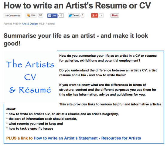 how to write an artists cv