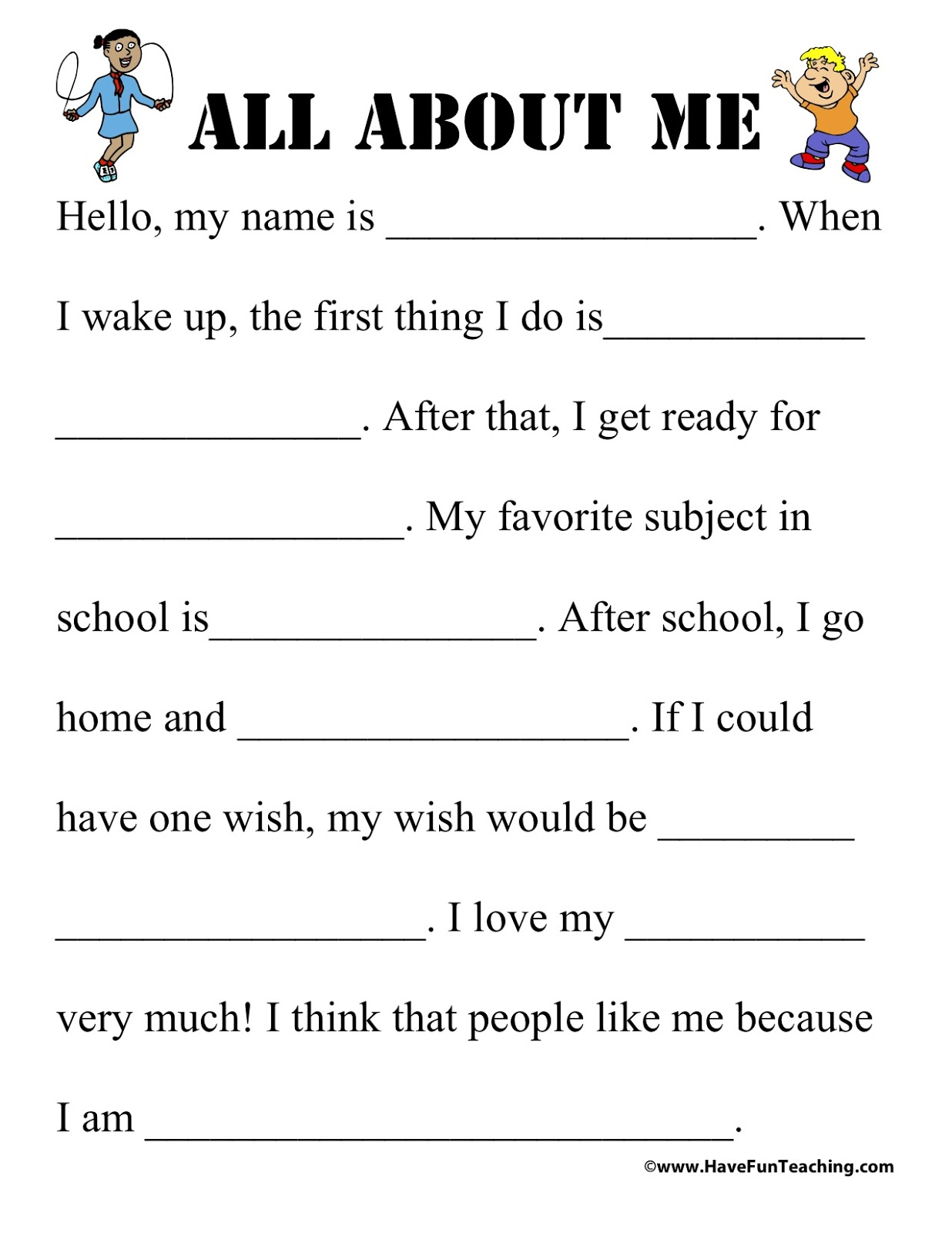 Effortless image for all about me printable worksheets