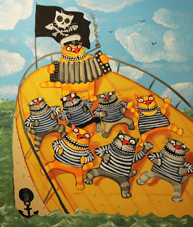 Sailors cats having fun dancing on board of sinking ship, playing roles, Theater of Absurd, comics