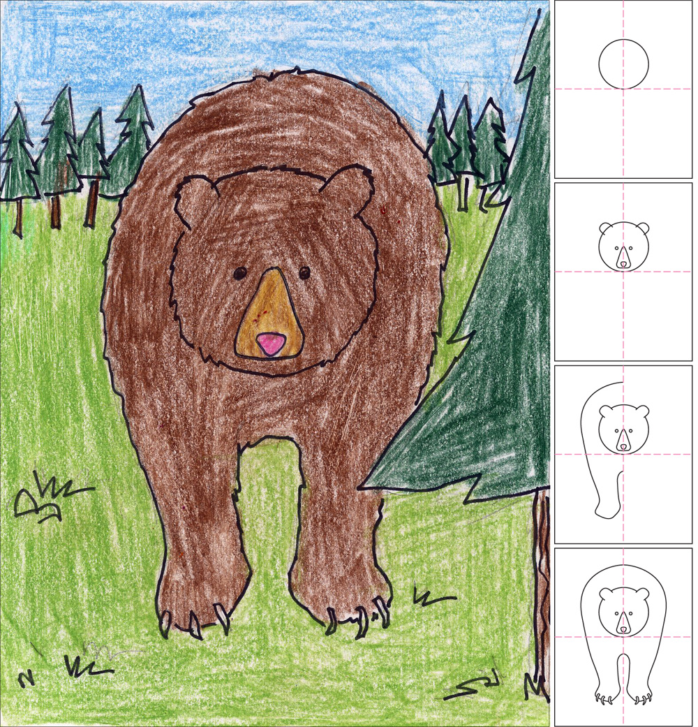 how to draw a grizzly bear art projects for kids