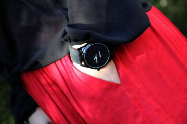 Red Maxi Skirt and Black Watch