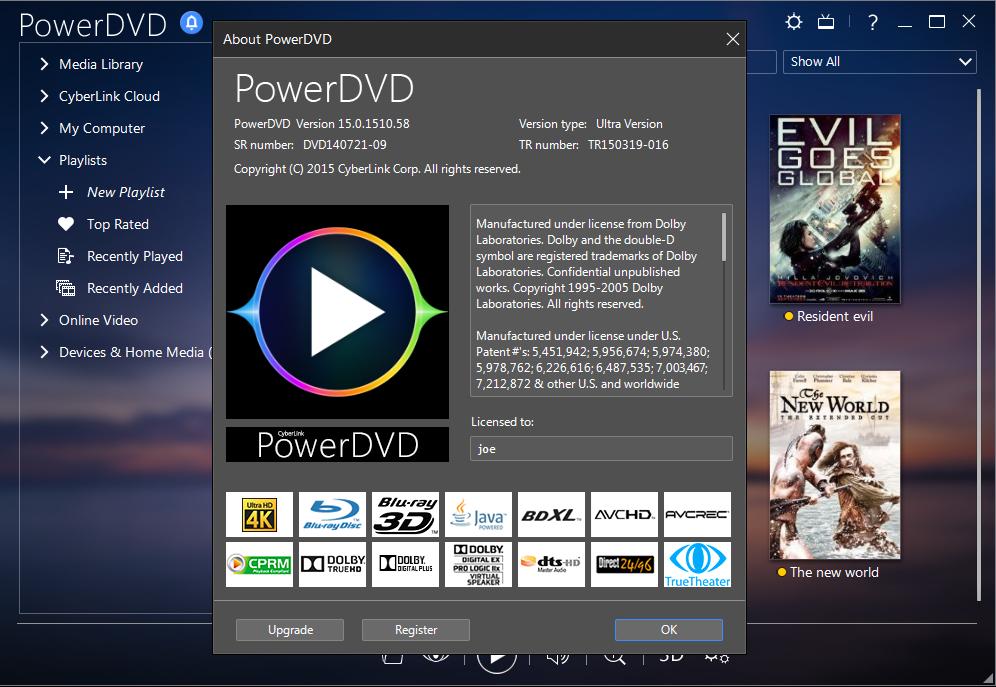 CyberLink PowerDVD Ultra 15 Full Keygen