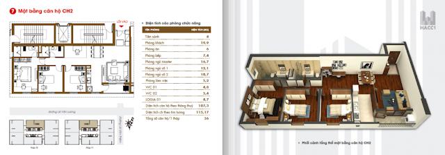 thiết kế căn hộ ch2 diện tích 107m2 chung cư hacc1