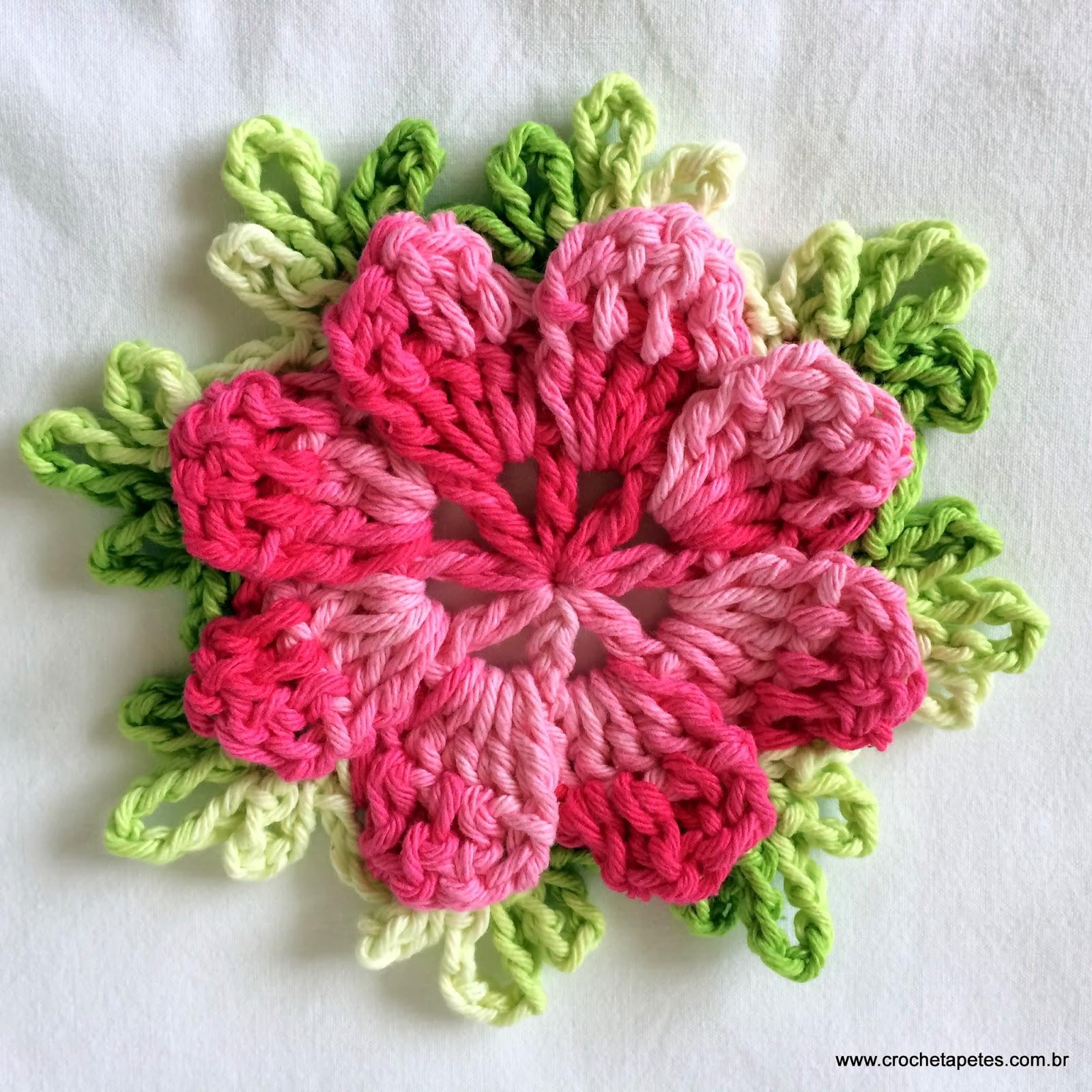 Flor de crochê, como fazer flor de crochê, passo a passo de flores de crochê, flor catavento.