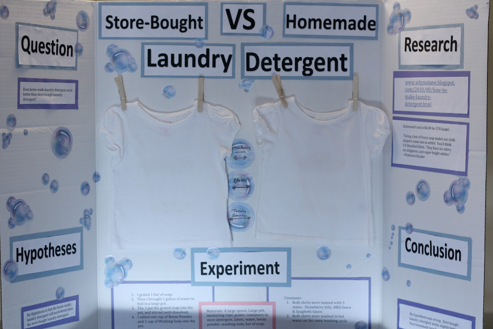 laundry detergent science fair project Do you have some children at home in need of a science fair project here's one that won't cost a lot of money but will result in some excellent information about the best laundry detergent.
