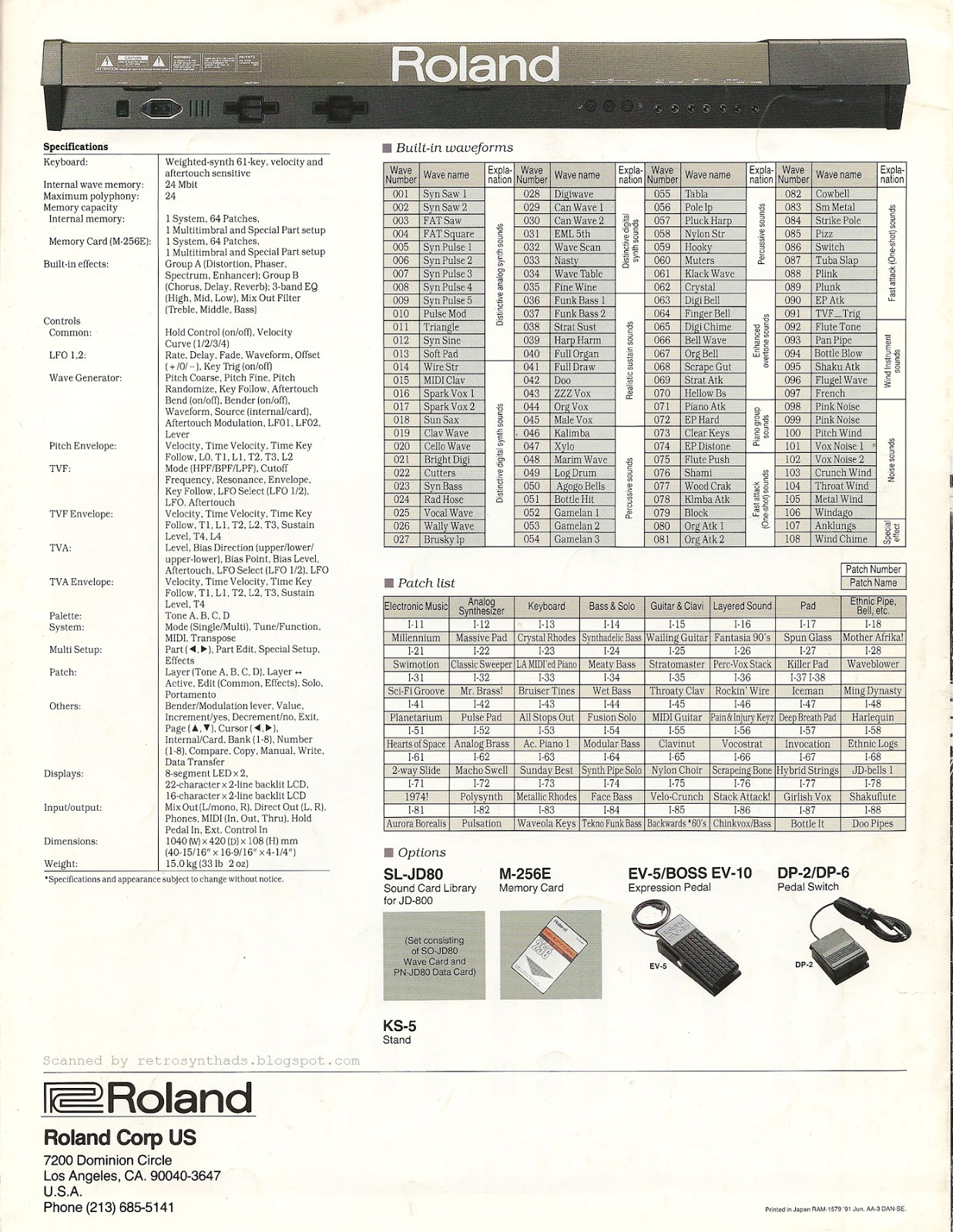 Retro Synth Ads 2013 This Is The Wiring Schematic For Roland Ev5 Expression Footpedal Jd 800 What Does Programmable Really Mean Brochure 1991