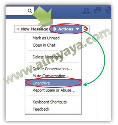 Gambar: Mengembalikan arsip pesan kembali ke inbox faceboook