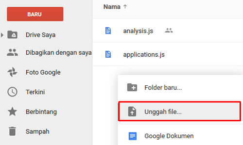 Uploaad File di Google Drive