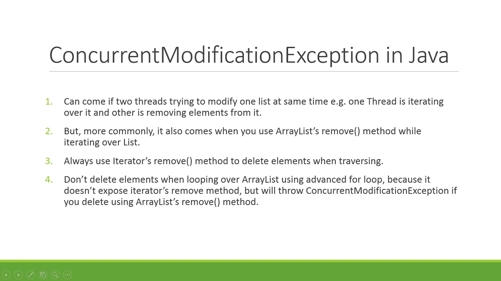 avoid concurrentmodificationexception while looping over java